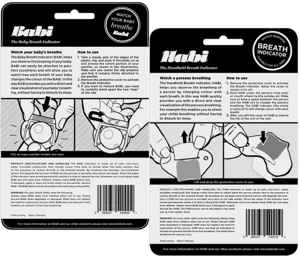 Breathindicator förpackningsbaksidor