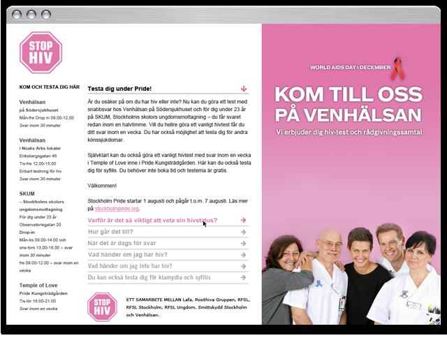 Informationswebb för Stop-hiv och Venhälsan